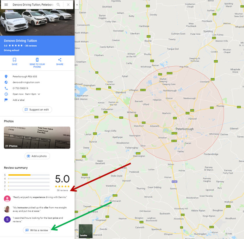 Denovo Driving Tuition Google Maps Reviews Page Image Feb 20 2019